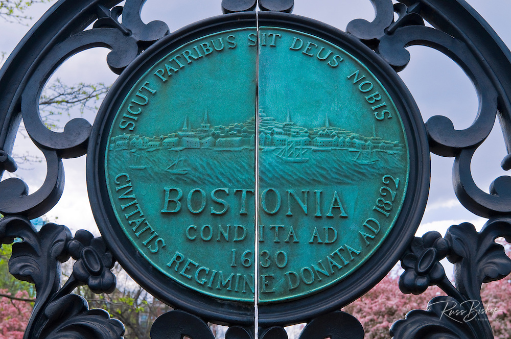 Entrance gate and plaque at the Public Garden, Boston, Massachusetts