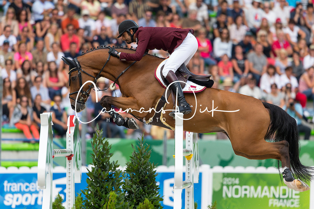 Shaikh Ali bin Khali Al Thani, (QAT), Vienna Olympic - World Champions, - Second Round Team Competition - Alltech FEI World Equestrian Games&trade; 2014 - Normandy, France.<br /> &copy; Hippo Foto Team - Leanjo De Koster<br /> 25/06/14