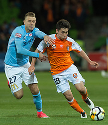 October 6, 2017 - Melbourne, Victoria, Australia - Melbourne, Victoria, Australia - Marcin Budzinski (#27) of Melbourne City and Joe Caletti (#18) of Brisbane Roar in action during the round 1 match between Melbourne City and Brisbane Roar at AAMI Park in Melbourne, Australia during the 2017/2018 Australian A-League season. (Credit Image: © Theo Karanikos via ZUMA Wire)