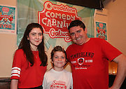 repro free: Vodafone Comedy Carnival : <br /> <br /> Pictured at the launch of the Vodafone Comedy Carnival in the Roisin Dubh were, Kevin Healy with Stevie Healy (childrens comedy programme co-ordinator) &nbsp;and LilyMay Healy  . The 2016 Vodafone Comedy Carnival runs as part of Vodafone&rsquo;s Centre Stage and is sure to fill the &lsquo;Eyre&rsquo; with laughter with performances from international and home grown comedians over the October bank holiday weekend (25th to 31st of October). Shows will take place in multiple venues across the city, including the brand new venue &lsquo;The Red Box&rsquo; at Eyre Square. Tickets on sale from Monday 29th August. For more for info go to  HYPERLINK &quot;http://www.vodafonecomedycarnival.com&quot; www.vodafonecomedycarnival.com&nbsp; <br /> Photo: xposure.