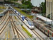 SEOUL, SOUTH KOREA: A South Korean high speed train pulls into Seoul Station, the largest train station in South Korea.      PHOTO BY JACK KURTZ