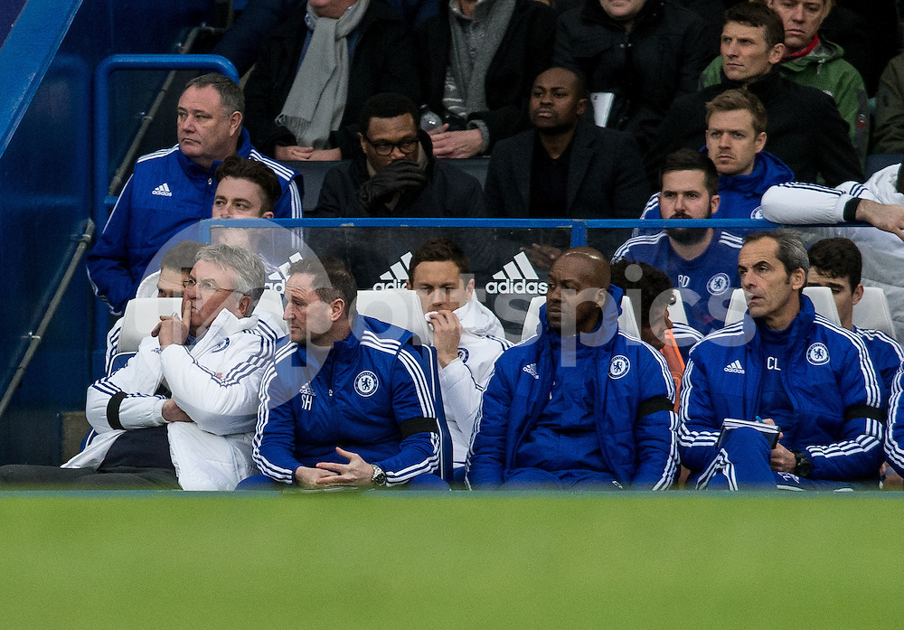 Chelsea Manager Guus Hiddink  during the Barclays Premier League match between Chelsea and West Ham United at Stamford Bridge, London, England on 19 March 2016. Photo by Steve Ball.