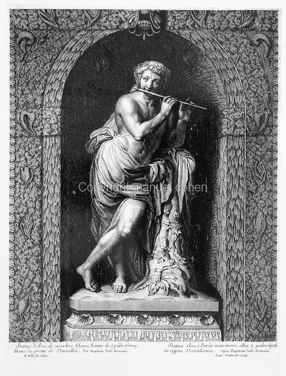 Statue of Acis, the spirit of the Acis river in Sicily, playing a flute, a white marble statue in a niche in the grotto in the gardens of the Palace of Versailles, by Jean Baptiste Tuby, 1635-1700, French sculptor, in a 17th century engraving by an unknown artist. Copyright © Collection Particuliere Tropmi / Manuel Cohen
