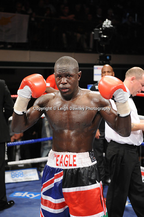 Erick Ochieng defeats Dee Mitchell in a 6x3min Light Middleweight contest at York Hall 09.11.11. Matchroom Sport. Photo credit: © Leigh Dawney 2011.