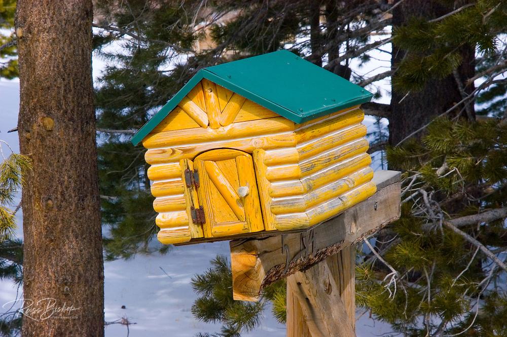 Log cabin mailbox, June Lake, California