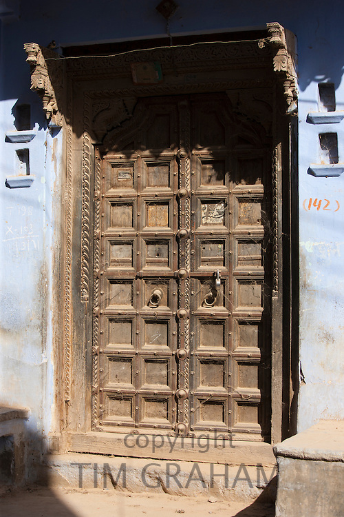 Ancient doorway in the village of Narlai in Rajasthan, Northern India