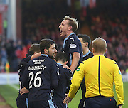 Kostadin Gadzhalov and Gary Irvine are prominent as Dundee celebrate Greg Stewart goal -  Aberdeen v Dundee, SPFL Premiership at Pittodrie<br />