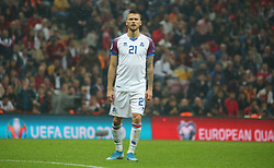 November 15, 2019: Iceland's Arnor Ingvi Traustason during the Euro 2020 group H qualifying soccer match between Turkey and Iceland at Turk Telekom Stadium in Istanbul, Turkey, Wednesday November 14, 2019. (Credit Image: © Tolga Adanali/Depo Photos via ZUMA Wire)