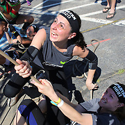 Alfonsina Fraschilla in action at the Herculean Hoist obstacle during the Reebok Spartan Race. Mohegan Sun, Uncasville, Connecticut, USA. 28th June 2014. Photo Tim Clayton