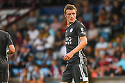 Jamie Vardy of Leicester City (9) reacts during the Pre-Season Friendly match between Scunthorpe United and Leicester City at Glanford Park, Scunthorpe, England on 16 July 2019.
