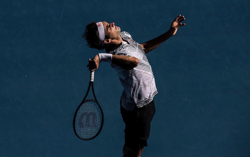 Roger Federer of Switzerland on day three of the 2017 Australian Open at Melbourne Park on January 18, 2017 in Melbourne, Australia.<br /> (Ben Solomon/Tennis Australia)