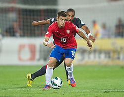 NOVI SAD, SERBIA - Tuesday, September 11, 2012: Serbia's Dusan Tadic in action against Wales during the 2014 FIFA World Cup Brazil Qualifying Group A match at the Karadorde Stadium. (Pic by David Rawcliffe/Propaganda)