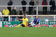 AFC Wimbledon striker Tyrone Barnett (23) and Rochdale FC midfielder Andy Cannon (27) during the EFL Sky Bet League 1 match between Rochdale and AFC Wimbledon at Spotland, Rochdale, England on 27 August 2016. Photo by Stuart Butcher.