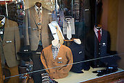Shop display traditional gentlemen's clothing shop window, Woodbridge, Suffolk, England