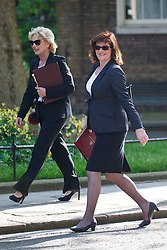 © Licensed to London News Pictures. 17/05/2016. London, UK. Minister of State for Small Business, Industry and Enterprise ANNA SOUBRY and Secretary of State for Education NICKY MORGAN attending a cabinet meeting in Downing Street on Tuesday, 17 May 2016. Photo credit: Tolga Akmen/LNP