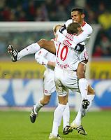 Fussball / 1. Bundesliga Saison 2002/2003   17. Spieltag Bayer 04 Leverkusen - 1. FC Nuernberg 0:2   Jubel: Torschuetze Junior (re) und Dusan Petkovic (re) bejubeln das 0:2.