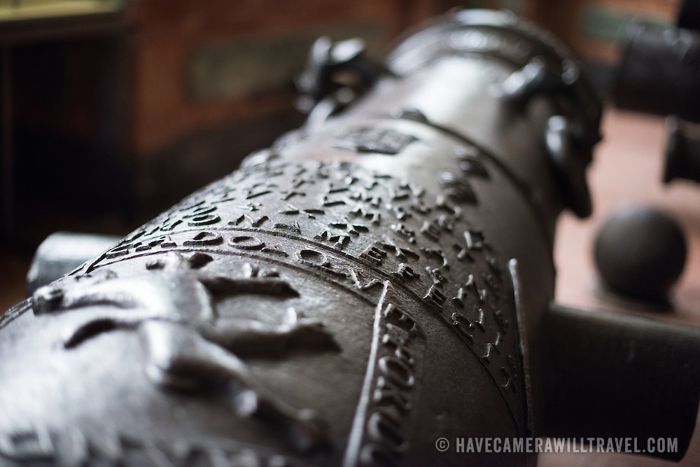 LISBON, Portugal - A bronze cannon cast in 1533 in Goa. It was used in siege operations. Housed in the old armoury, Lisbon's Military Museum showcases 500 years of Portuguese military history, with many of the exhibits in opulently decorated rooms of the historic building.