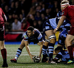 Tomos Williams of Cardiff Blues in action during todays match<br /> <br /> Photographer Simon King/Replay Images<br /> <br /> Guinness PRO14 Round 4 - Cardiff Blues v Munster - Friday 21st September 2018 - Cardiff Arms Park - Cardiff<br /> <br /> World Copyright © Replay Images . All rights reserved. info@replayimages.co.uk - http://replayimages.co.uk