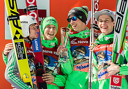 Second placed team of Slovenia: Robert Kranjec, Jurij Tepes, Anze Semenic and Peter Prevc during trophy ceremony after the Ski Flying Hill Team Competition at Day 3 of FIS Ski Jumping World Cup Final 2016, on March 19, 2016 in Planica, Slovenia. Photo by Vid Ponikvar / Sportida