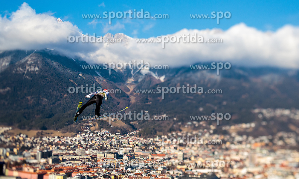 03.01.2017, Bergiselschanze, Innsbruck, AUT, FIS Weltcup Ski Sprung, Vierschanzentournee, Innsbruck, Training, im Bild Markus Eisenbichler (GER), mit einem Tilt & Shift Objektiv fotografiert // Markus Eisenbichler of Germany photographed with a Tilt & Shift lens during his Practice Jump for the Four Hills Tournament of FIS Ski Jumping World Cup at the Bergiselschanze in Innsbruck, Austria on 2017/01/03. EXPA Pictures © 2017, PhotoCredit: EXPA/ JFK
