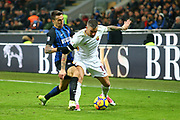 Aleksandar Kolarov of AS Roma and Matias Vecino of Inter during the Italian championship Serie A football match between FC Internazionale and AS Roma on January 21, 2018 at Giuseppe Meazza stadium in Milan, Italy - Photo Morgese - Rossini / ProSportsImages / DPPI