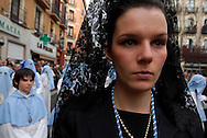 Holy Friday. April 6, 2007. Parade of the Holy Sepulcher. Easter week in Spain, where drum sounds are made made into prayers. The week concludes in Zaragoza with the Parade of the Holy Sepulcher, where more than 15.000 members of the brotherhood begin and end a 5 km. walk from the church of Santa Isabel of Portugal. Justice Square.