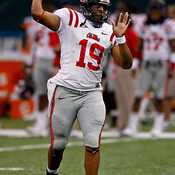 Sep 11, 2010; New Orleans, LA, USA; Mississippi Rebels quarterback Evan Ingram (19) on the field during warm ups before a game against the Tulane Green Wave at the Louisiana Superdome. The Mississippi Rebels defeated the Tulane Green Wave 27-13.  Mandatory Credit: Derick E. Hingle