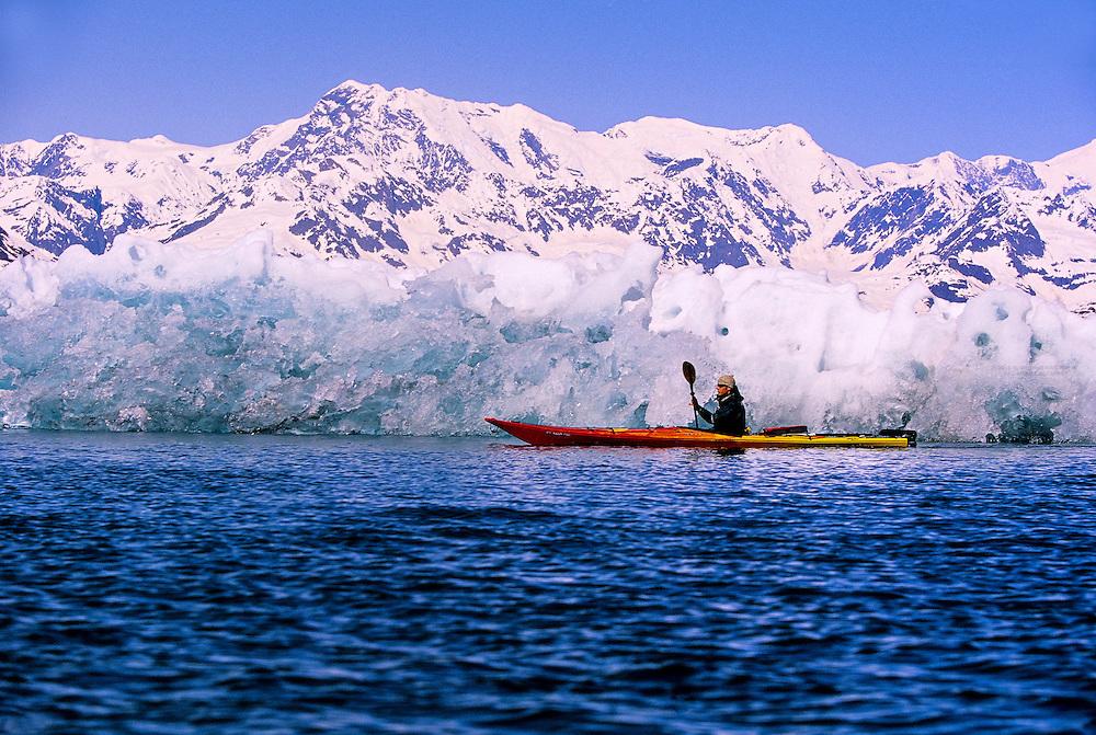 Sea kayaking in Columbia Bay, near Columbia Glacier (with Anadyr Adventures), Prince William Sound, near Valdez, Alaska USA