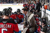 KELOWNA, BC - NOVEMBER 8: Kelowna Rockets' assistant coach Vernon Fiddler goes over a play on the bench during a time out against the Medicine Hat Tigers at Prospera Place on November 8, 2019 in Kelowna, Canada. (Photo by Marissa Baecker/Shoot the Breeze)