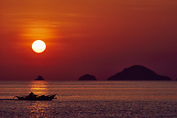 seascape  at sunset between El Nido and coron in Palawan Philippines Palawan Philippines