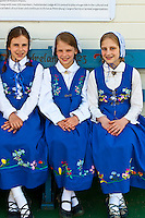 Local girls in Norwegian costume, Sons of Norway Hall, Petersburg, Southeast Alaska USA