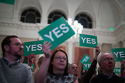 "© Licensed to London News Pictures . 18/11/2014 . Kent , UK . Audience voting "" YES "" in response to a question at a hustings in the Rochester and Strood by-election , held at the Corn Exchange in Rochester , this evening ( 18th November 2014 ) . Photo credit : Joel Goodman/LNP"