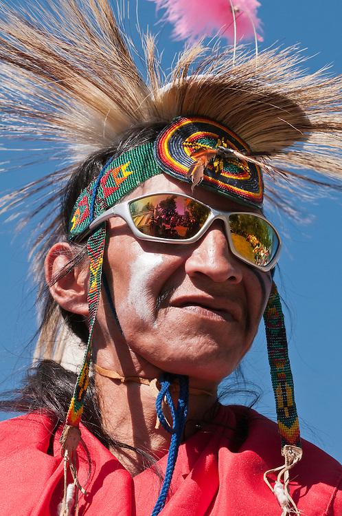 Elder in traditional regalia, Stony Nakoda First Nations, Bar U Ranch, Alberta, Canada