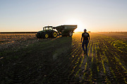 Jacob Rickli heads back to work after a dinner break during the corn harvest in one of Lon Frahm's fields in Colby, KS on October 10, 2017. Frahm has been acquiring and renting farmland to now manage over 30,000 acres across three counties. To boost profits, big farm owners are widening the gap between small and large farms to where just four percent of U.S. farms produce two-thirds of the country's agricultural output. (For The Wall Street Journal)