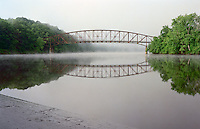 Early morning in June at Schell Bridge over the Connecticut River, Northfield, MA