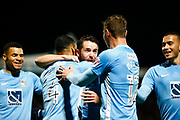 Coventry's forward Marc McNulty celebrates scoring Coventry's first goal during the EFL Sky Bet League 2 match between Stevenage and Coventry City at the Lamex Stadium, Stevenage, England on 21 November 2017. Photo by Matt Bristow.
