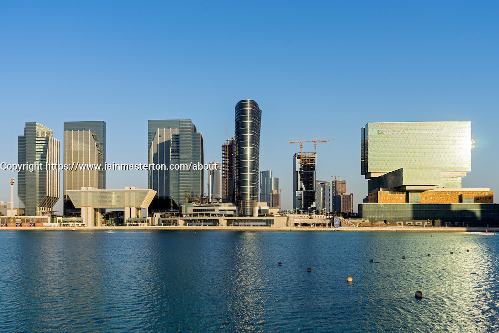 View of new Sowwah Square and new financial district on Al Maryah Island in Abu Dhabi United Arab Emirates