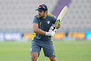 Rilee Rossouw of Hampshire warming up during the Royal London One Day Cup semi-final match between Hampshire County Cricket Club and Lancashire County Cricket Club at the Ageas Bowl, Southampton, United Kingdom on 12 May 2019.navn