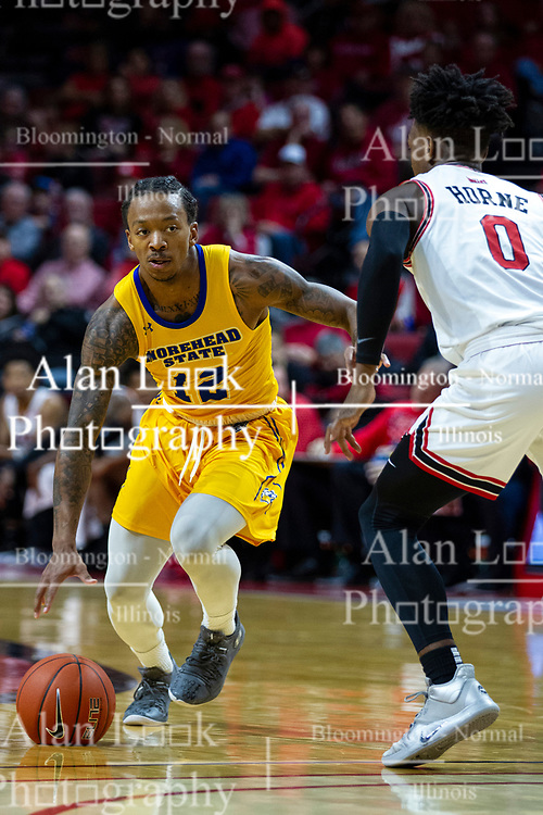 NORMAL, IL - December 07: DJ Horne defends Justin Thomas during a college basketball game between the ISU Redbirds and the Morehead State Eagles on December 07 2019 at Redbird Arena in Normal, IL. (Photo by Alan Look)