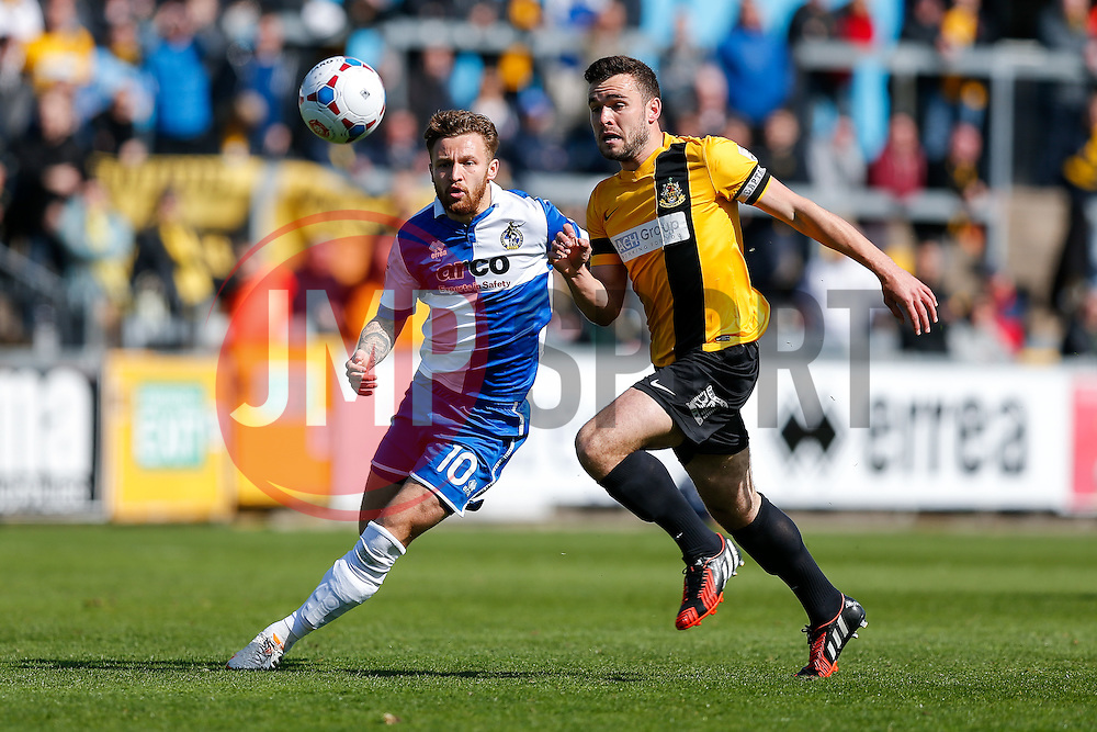 Matt Taylor of Bristol Rovers and Luke George of Southport compete for the ball - Photo mandatory by-line: Rogan Thomson/JMP - 07966 386802 - 11/04/2015 - SPORT - FOOTBALL - Bristol, England - Memorial Stadium - Bristol Rovers v Southport - Vanarama Conference Premier.