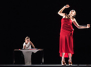 &copy; Tony Nandi. 27/10/2015. Gravity Fatigue is a major new Sadler&rsquo;s Wells production, directed and designed by Hussein Chalayan working with choreographer Damien Jalet.<br />  In his first theatrical work, Chalayan combines the visual creativity of his designs and concepts with contemporary dance to bring to life a transformational imaginary world. Picture features Lisa Kalman.<br /> Photo credit: Tony Nandi