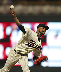 July 5, 2017 - Minneapolis, MN, USA - Minnesota Twins starting pitcher Ervin Santana throws against the Los Angeles Angels' Danny Espinosa, striking him out, in the ninth inning on Wednesday, July 5, 2017, at Target Field in Minneapolis. The Angels won, 2-1. (Credit Image: © Jeff Wheeler/TNS via ZUMA Wire)