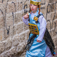 JERUSALEM - MARCH 13 : Ultra Orthodox child during Purim in Mea Shearim Jerusalem on March 13 2017 , Purim is a Jewish holiday celebrates the salvation of the jews from genocide in ancient Persia