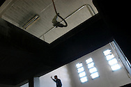 A chamber in Saddam Hussein's infamous Abu Ghraib prison designed for hanging prisoners. Thousands were executed and tortured in the regime's prison system...Baghdad, Iraq. 28 April 2003...Photo © J.B. Russell