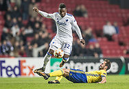 FOOTBALL: Danny Amankwaa (FC København) escapes a tackles by Petr Jiráček (FC Zlin) during the UEFA Europa League Group F match between FC København and FC Zlin at Parken Stadium, Copenhagen, Denmark on November 2, 2017. Photo: Claus Birch