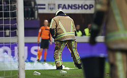November 29, 2017 - Anderlecht, BELGIUM - A fireman removes fireworks from the pitch during a Croky Cup 1/8 final game between RSC Anderlecht and Standard de Liege, in Anderlecht, Wednesday 29 November 2017. BELGA PHOTO VIRGINIE LEFOUR (Credit Image: © Virginie Lefour/Belga via ZUMA Press)