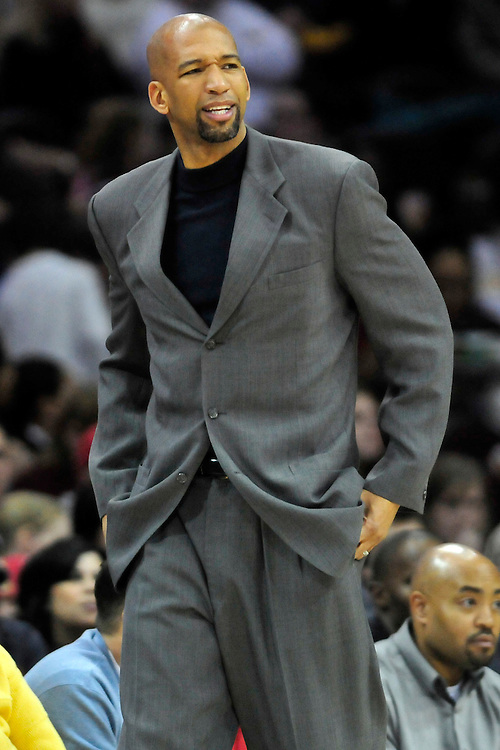 March 6, 2011; Cleveland, OH, USA; New Orleans Hornets head coach Monty Williams during the fourth quarter against the Cleveland Cavaliers at Quicken Loans Arena. The Hornets beat the Cavaliers 96-81. Mandatory Credit: Jason Miller-US PRESSWIRE