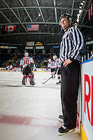 KELOWNA, CANADA - FEBRUARY 18: Linesman Dustin Minty stands on the ice during warm up at the Kelowna Rockets against the Prince George Cougars on February 18, 2017 at Prospera Place in Kelowna, British Columbia, Canada.  (Photo by Marissa Baecker/Shoot the Breeze)  *** Local Caption ***