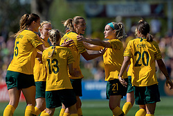 November 10, 2018 - Penrith, NSW, U.S. - PENRITH, NSW - NOVEMBER 10: Australian midfielder Emily Van Egmond (10) celebrates with team mates after scoring from the penalty spot at the international women's soccer match between Australia and Chile at Panthers Stadium in NSW on November 10, 2018. (Photo by Speed Media/Icon Sportswire) (Credit Image: © Speed Media/Icon SMI via ZUMA Press)