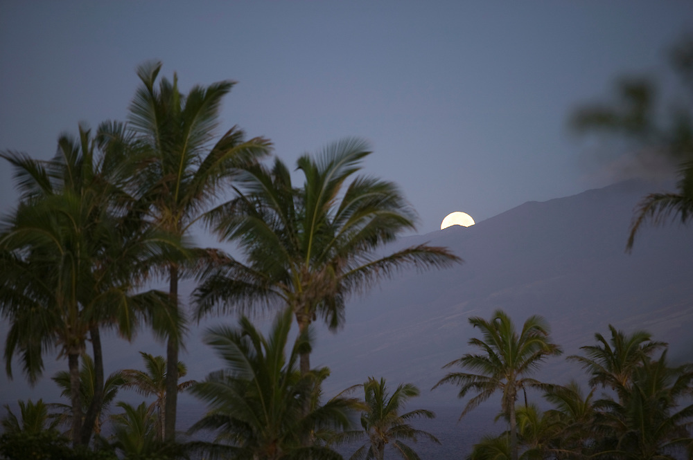 Kapalua, Moon setting over Molokai at sunrise, USA